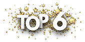 Top 6 sign with gold stars. Rating or hit-parade header. Vector background.