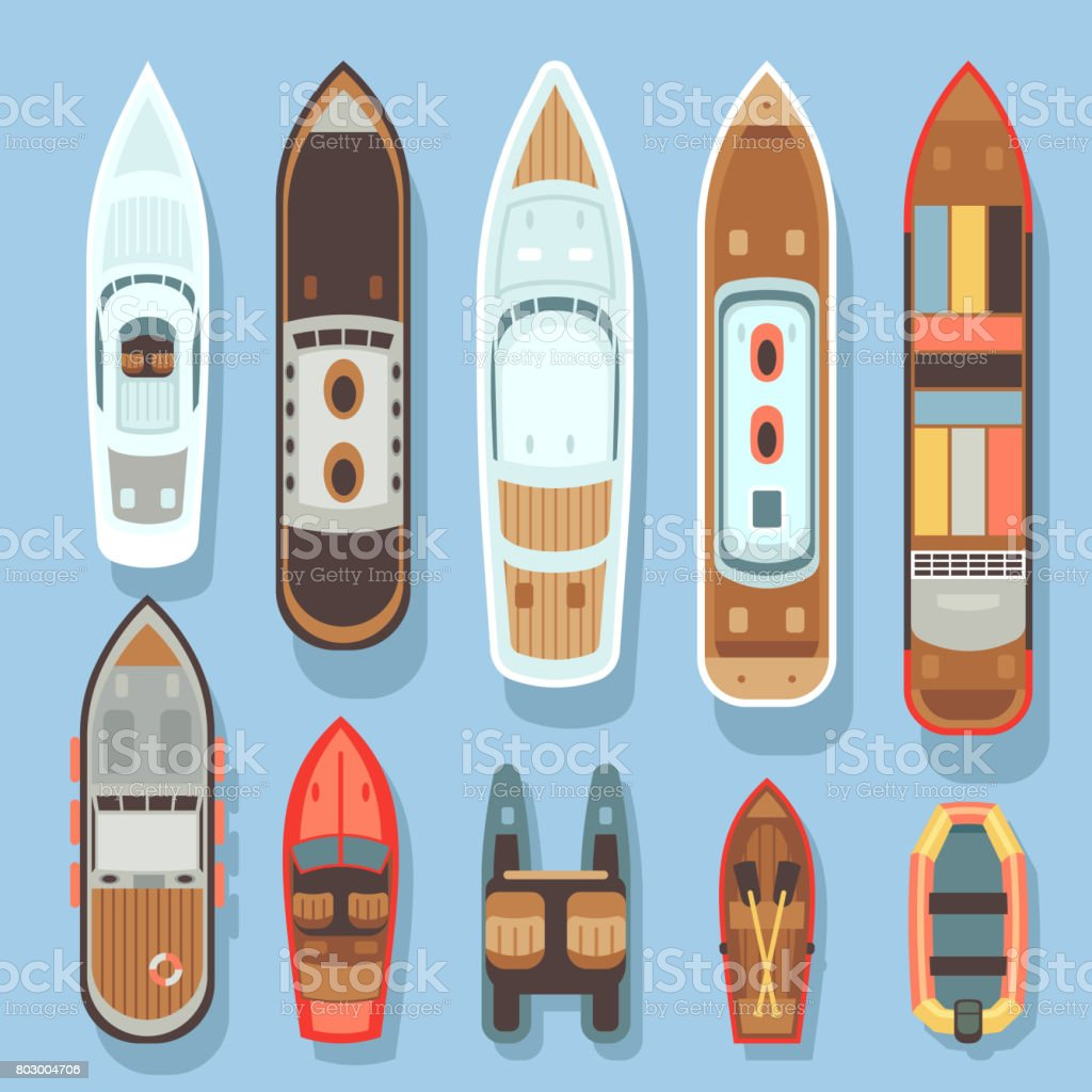 Top aerial view boat and ocean ships vector set vector art illustration