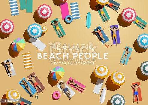 istock Top Aerial View of People On Beach Holiday 1149067761