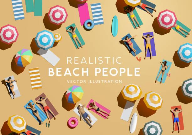 ilustrações, clipart, desenhos animados e ícones de vista aérea superior dos povos no feriado da praia - viagens e férias da família