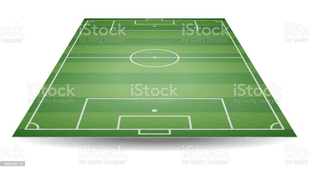 Vista superior y posterior del campo de fútbol. Campo de fútbol con textura  en perspectiva 5128874def2ba