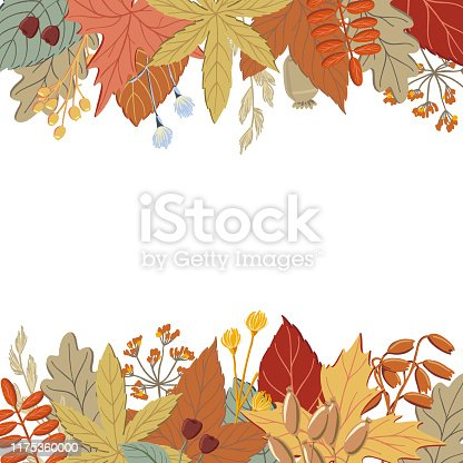 Top and bottom border of fall, autumn leaves, twigs and branches, banner or print design, vector illustration. Set of top and bottom borders with fall, autumn leaves and twigs