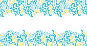 istock Top and bottom repeat borders of blue doodle arrows. Hand drawn textures. 1324264379