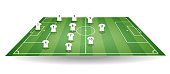istock Top and side view of football field with team players t-shirt. Textured soccer field in perspective. Green tactic mockup. Vector illustration. 953164676