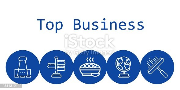 istock top business background concept with top business icons. Icons related paper clip, signpost, earth globe, window cleaner, pie 1314312112