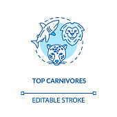 Top carnivores concept icon. Wild animals. Food chain apex predators. Marine and land fauna idea thin line illustration. Vector isolated outline RGB color drawing. Editable stroke