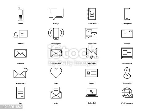 Contact thin line icons. Icons for web and user interface