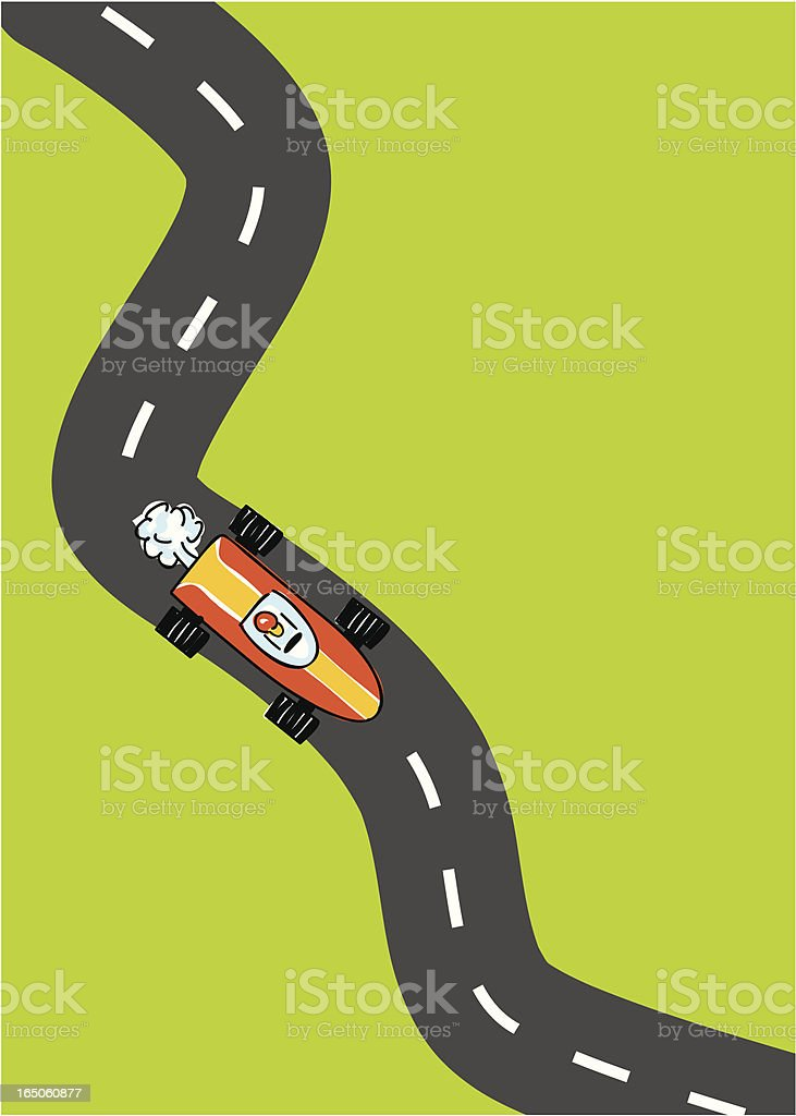 Top down illustration of a race car on a curved road course vector art illustration