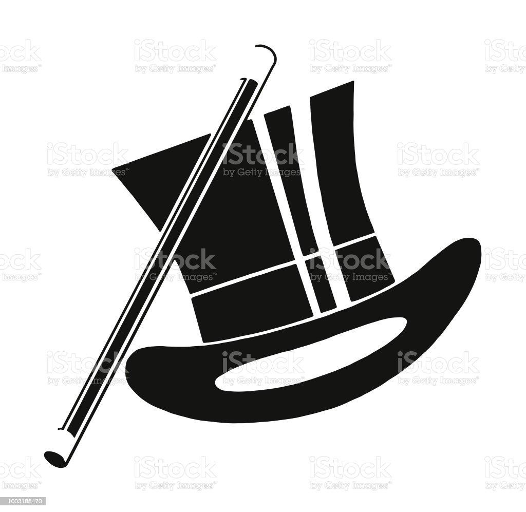 Sombrero de copa y bastón ilustración de sombrero de copa y bastón y más  banco de. Sólo contenido iStock 6347a2e9826