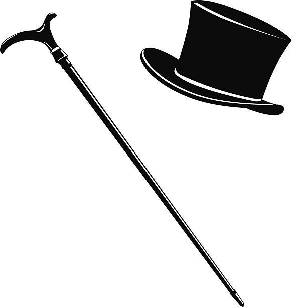 zylinderhut und cane-symbol silhouette - zylinder stock-grafiken, -clipart, -cartoons und -symbole
