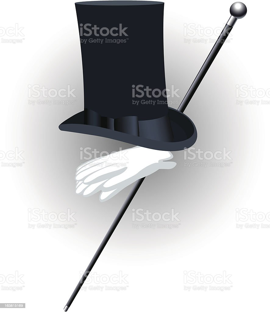 Top hat and cane royalty-free stock vector art
