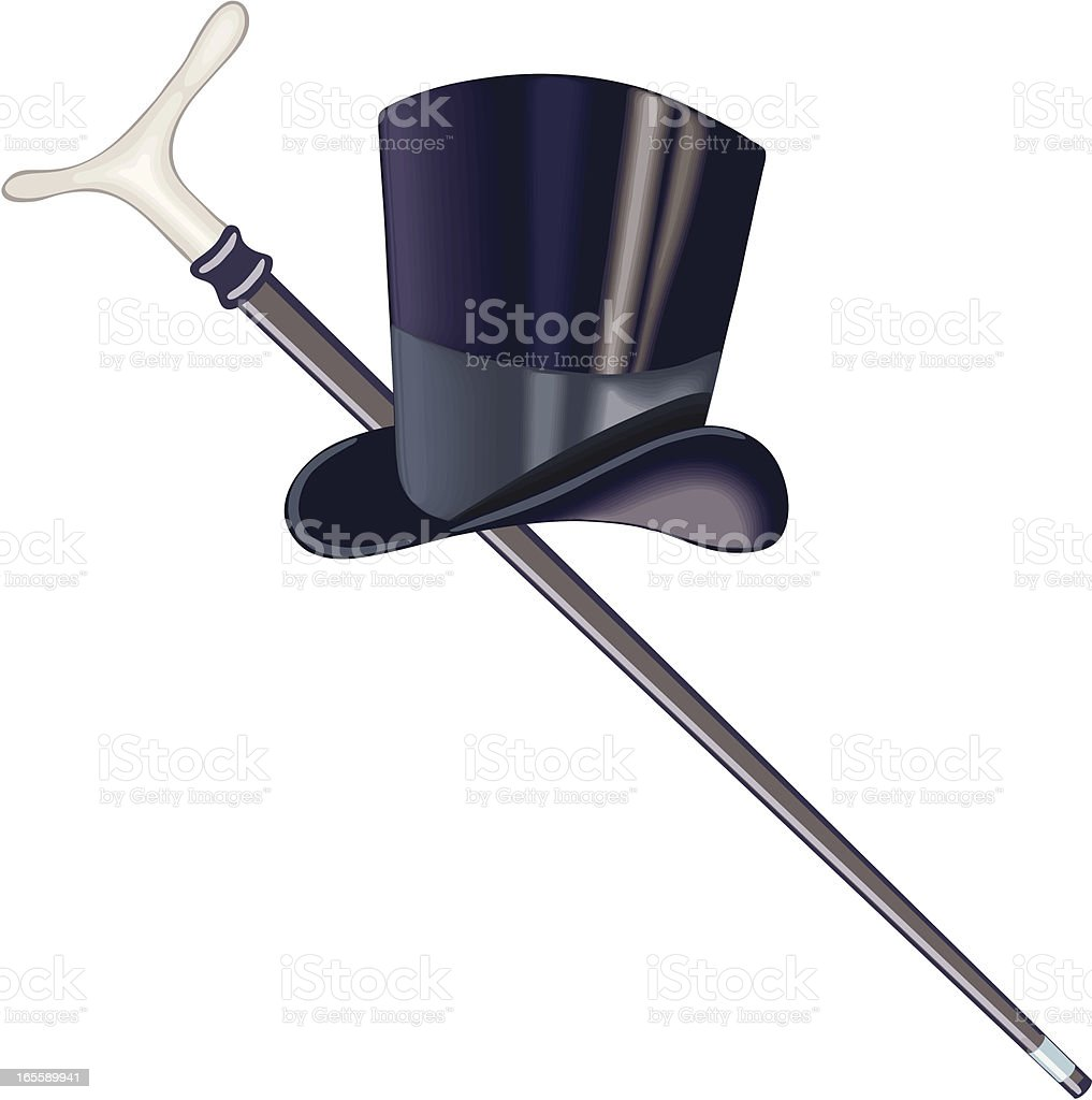 top hat and cane vector art illustration