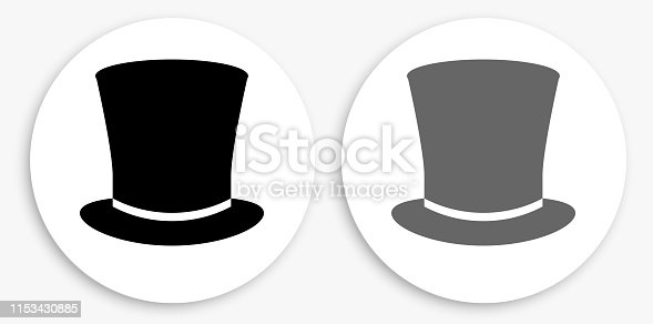 Top Hat Black and White Round Icon. This 100% royalty free vector illustration is featuring a round button with a drop shadow and the main icon is depicted in black and in grey for a roll-over effect.