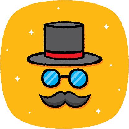 Top Hat Face Doodle 7