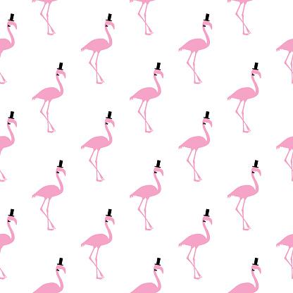 Top Hat Flamingo Seamless Pattern
