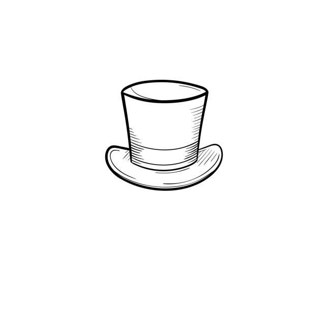 zylinderhut handsymbol gezeichnete skizze - zylinder stock-grafiken, -clipart, -cartoons und -symbole