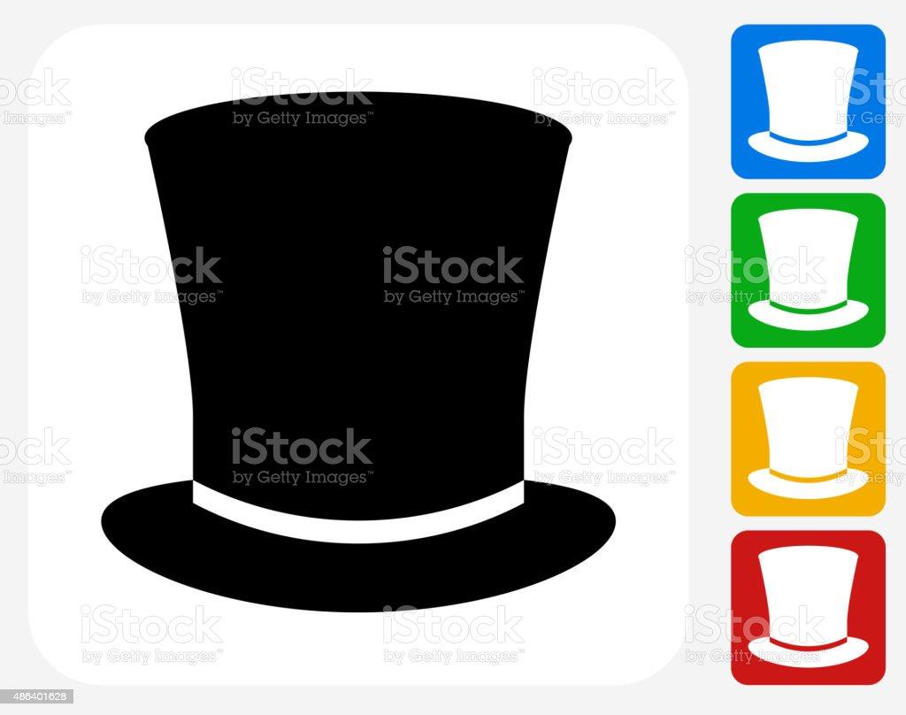 Top Hat Icon Flat Graphic Design vector art illustration