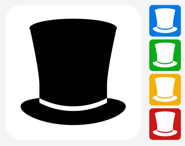 zylinderhut symbol flache grafik design - zylinder stock-grafiken, -clipart, -cartoons und -symbole