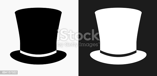 Top Hat Icon on Black and White Vector Backgrounds. This vector illustration includes two variations of the icon one in black on a light background on the left and another version in white on a dark background positioned on the right. The vector icon is simple yet elegant and can be used in a variety of ways including website or mobile application icon. This royalty free image is 100% vector based and all design elements can be scaled to any size.