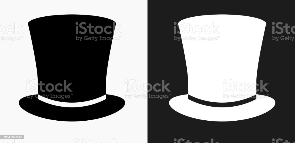 Top Hat Icon on Black and White Vector Backgrounds vector art illustration