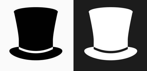 hut-symbol auf schwarz-weiß-vektor-hintergründe - zylinder stock-grafiken, -clipart, -cartoons und -symbole