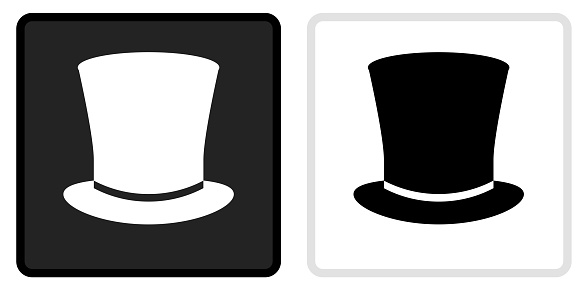 Top Hat Icon on  Black Button with White Rollover