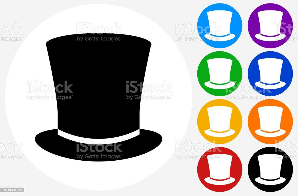 Top Hat Icon on Flat Color Circle Buttons vector art illustration