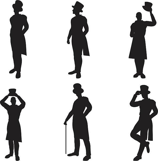 zylinderhut silhouetten - zylinder stock-grafiken, -clipart, -cartoons und -symbole