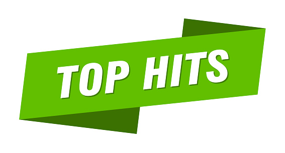 top hits banner template. ribbon label sign. sticker