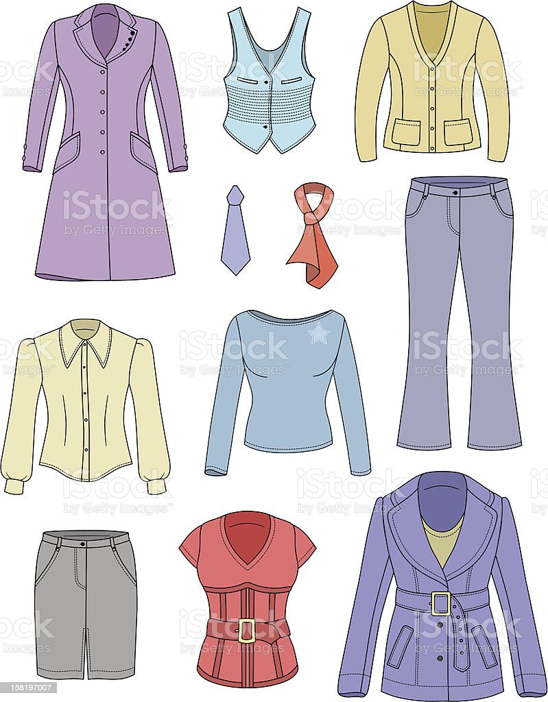 Top manager woman clothes collection royalty-free top manager woman clothes collection stock vector art & more images of belt