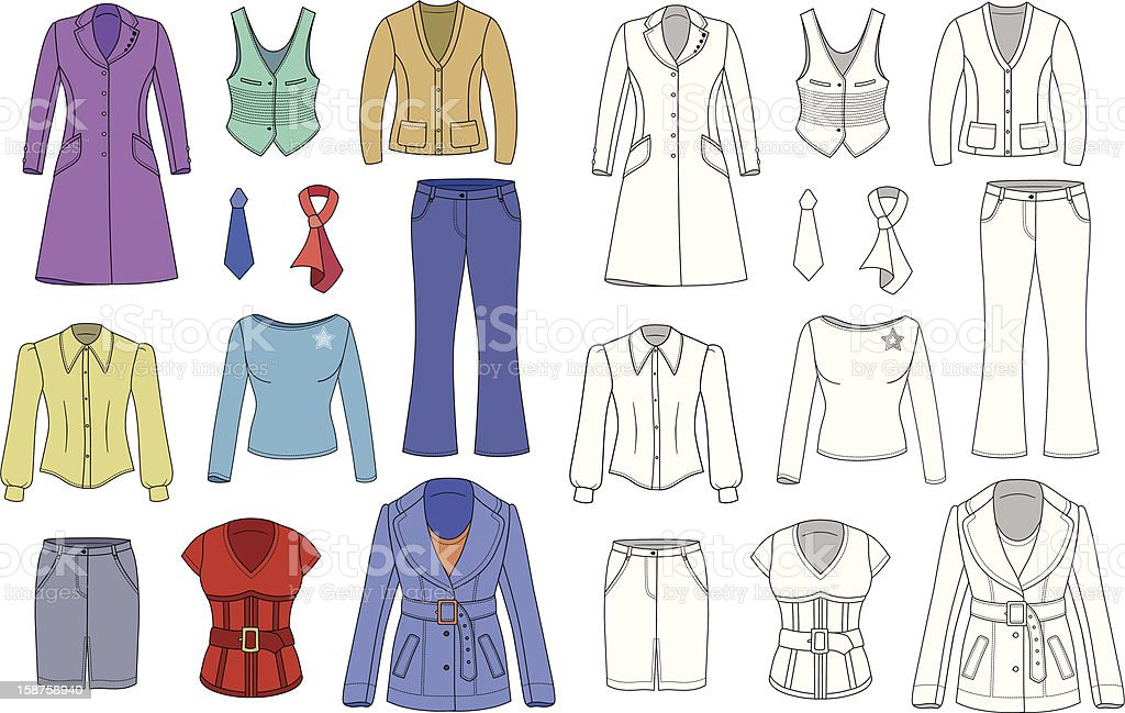 Top manager woman clothes collection royalty-free top manager woman clothes collection stock vector art & more images of blouse
