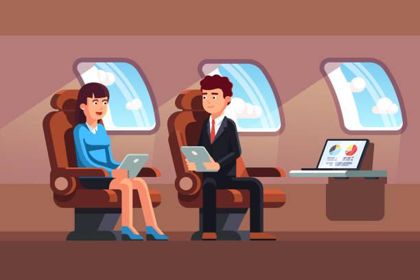 Top-Manager im Business-Jet-Luxus-Salon sitzen. Flache Vektor-Cliparts-illustration – Vektorgrafik
