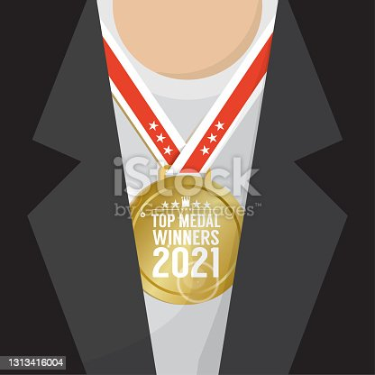 Top Medal Winner 2021 Sport Competition Concept Vector Illustration.