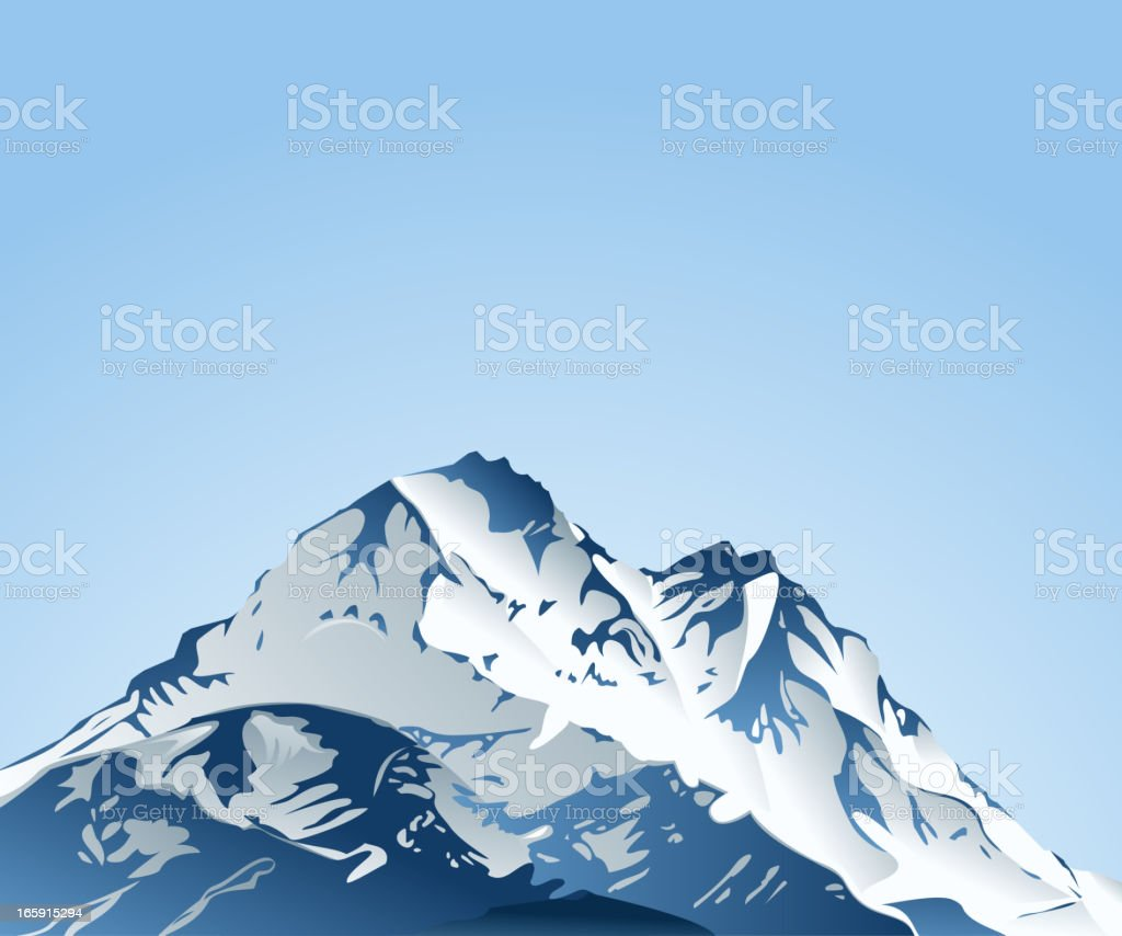 Top of mountain covered by snow vector art illustration