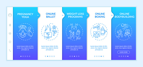 Top online physical training programs onboarding vector template