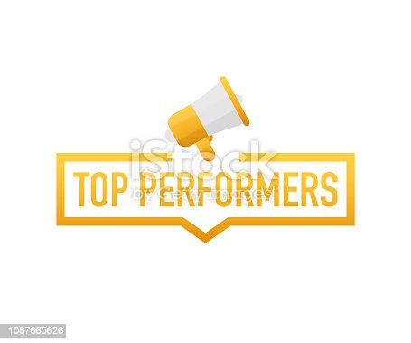 Top Performers. Badge, icon, stamp, logo. Vector stock illustration.