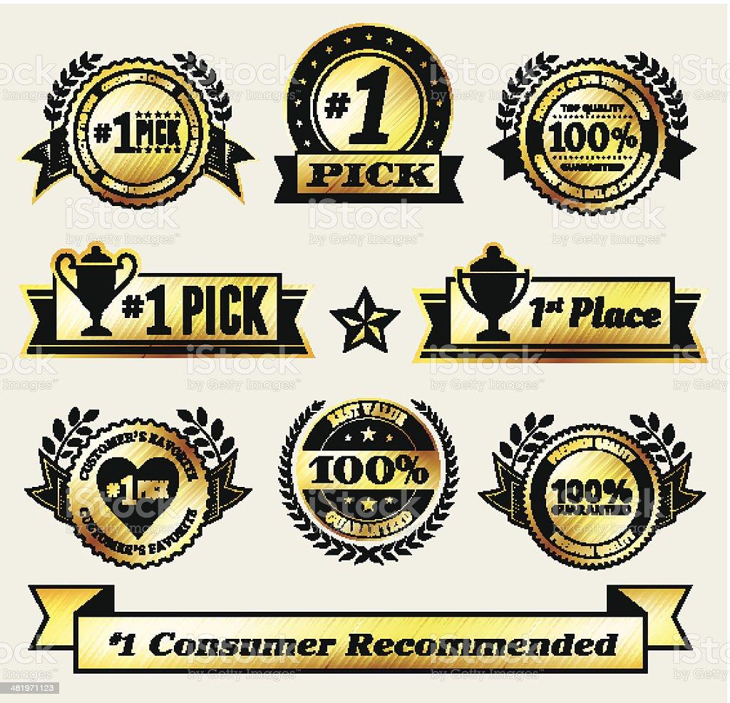 Top Pick Award Winner Gold Badge vector icon set royalty-free stock vector art