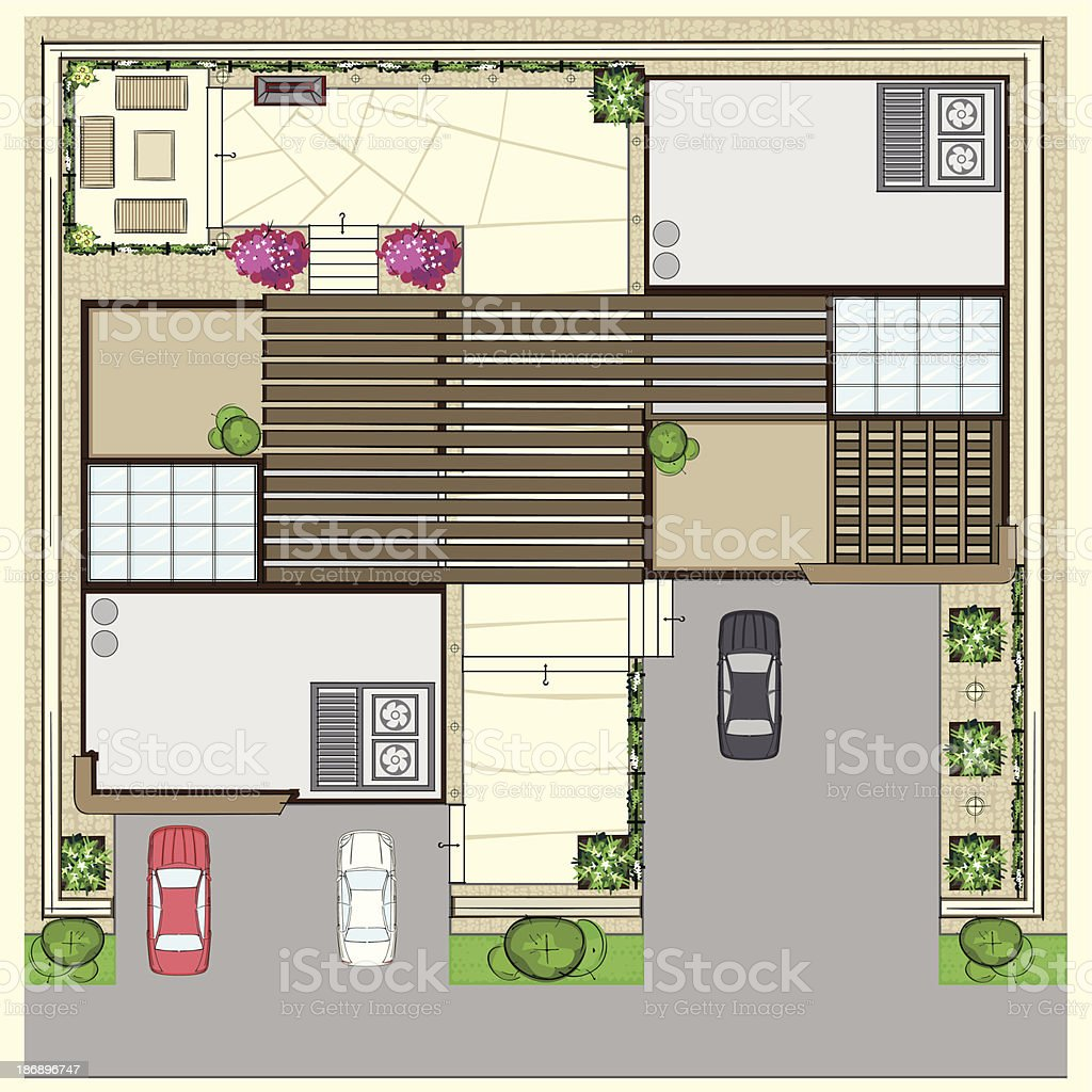 Top Plan Of Modern Houses With Parking Slots And Patio Royalty Free Top Plan  Of