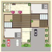 Top Plan of two modern houses with parking slots and rest zone on a backyard.