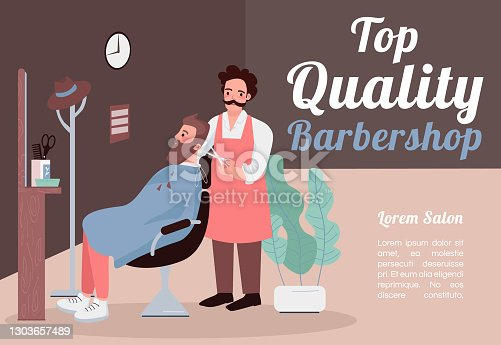 Top quality barber shop banner flat vector template. Brochure, poster concept design with cartoon characters. Trimming facial hair horizontal flyer, leaflet with place for textflyer, leaflet
