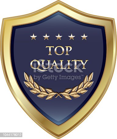 Top quality guaranteed luxury gold shield with five stars.