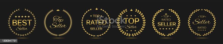 istock Top rated seller Golden laurel wreath label set 1330947731