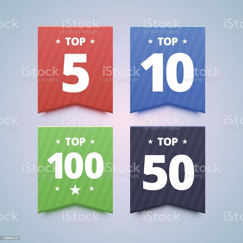 Top rating badges. vector art illustration