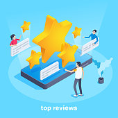 isometric vector image on a blue background, men and women send messages with stars on a smartphone, top reviews
