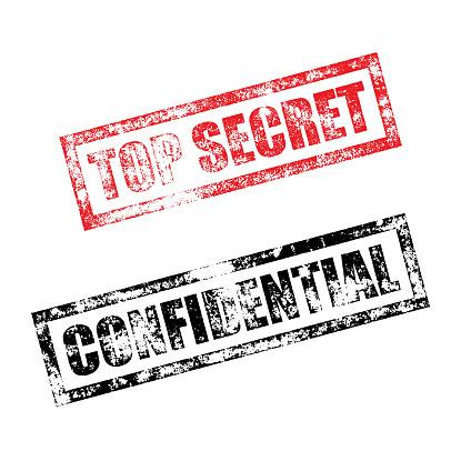 Top Secret Confidential stamp. Vintage rubber ink print