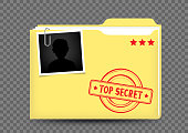The top secret closed yellow folder correspondence with stamp photo snapshot and shadow on transparent background