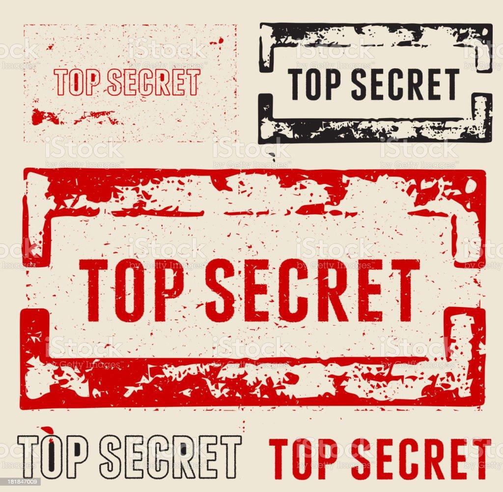 Top Secret Grunge Stamps vector art illustration