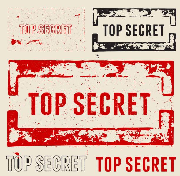stockillustraties, clipart, cartoons en iconen met top secret grunge stamps - paranoïde