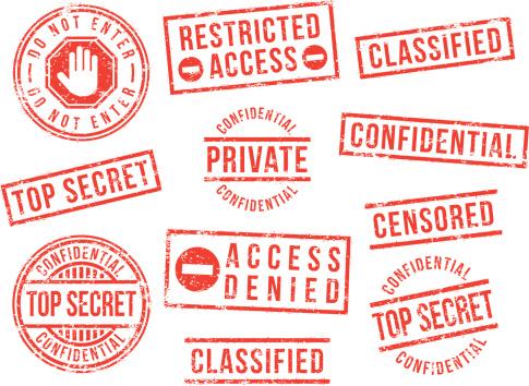 Confidential, top secret, private, rubber stamps.