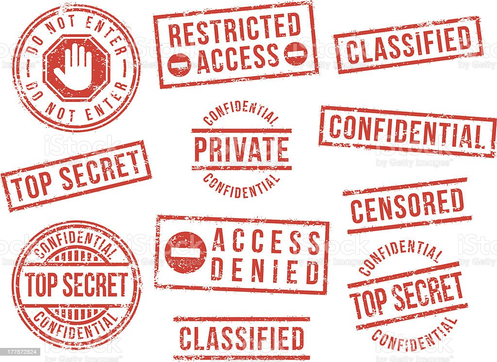 Top secret rubber stamps vector art illustration